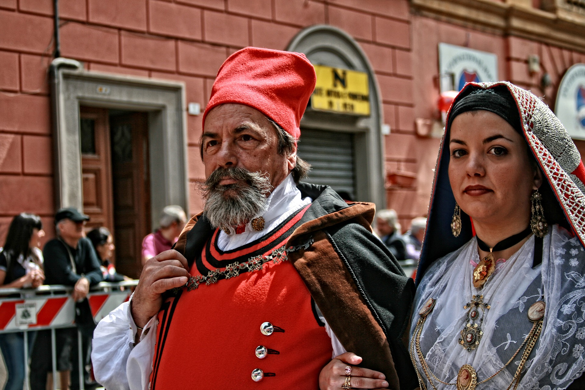 A man and women at a Sardinian celebration.