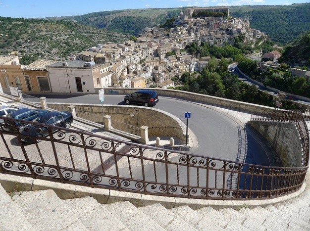 View of Ragusa coastal town visit while staying at Essential Italy's holiday apartments in Sicily