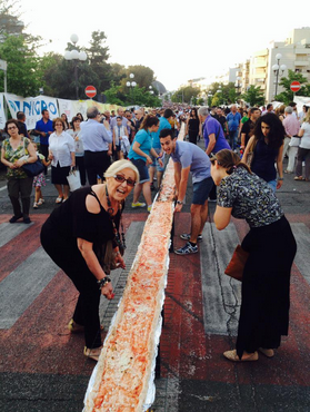 The world's longest pizza in Calabria, Italy