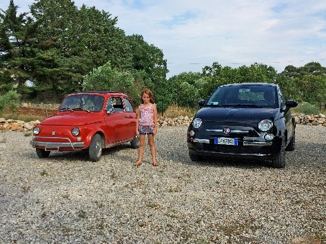 With the Fiat 500s (Cinquecento) near our luxury villas in Puglia