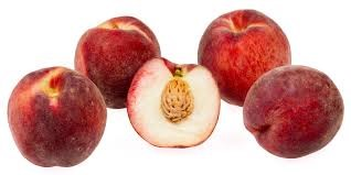 A picture of five juicy white peaches.