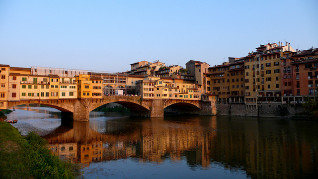 Florence's Vasari Corridor on the Ponte Vecchio near our holiday villas in Italy