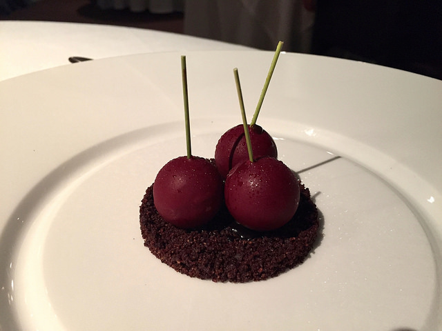Dessert at Osteria Francescana, the world's best restaurant near our apartments in Italy
