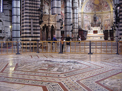 The floor of Siena's Duomo – new art exhibition near our luxury villas in Tuscany