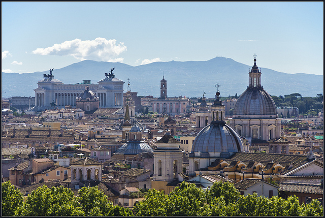 The skyline of Rome, the capital city of Italy, near our luxury villas