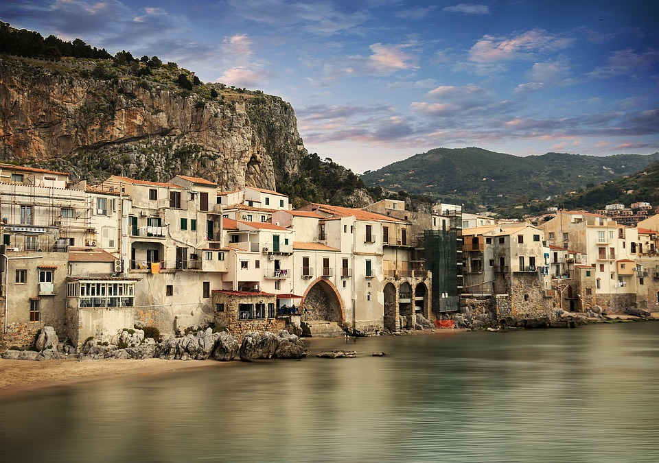 Buildings on the coast of Cefalù, Sicily