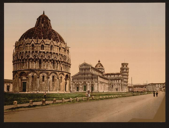 Pisa's cathedral square in the 19th century near the best hotels in Italy