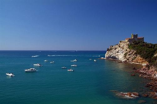 Casteligione della Pescaia coastline near our villas in Tuscany