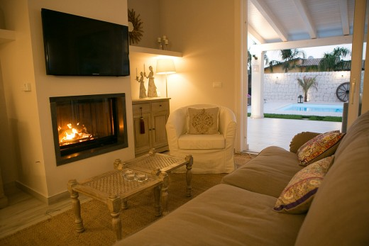 fire place in modern style villas in Italy