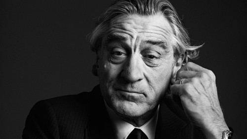 Black and white portrait photo of Robert De Niro.