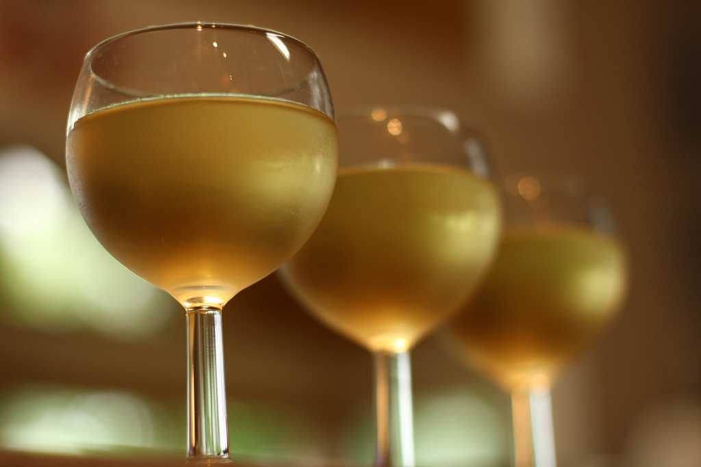 chilled glasses of Italian white wine from Umbria
