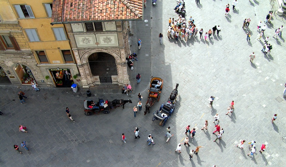 An aerial view of a street in Florence