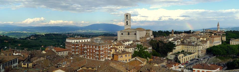 A panoramic view of Perugia in Umbria