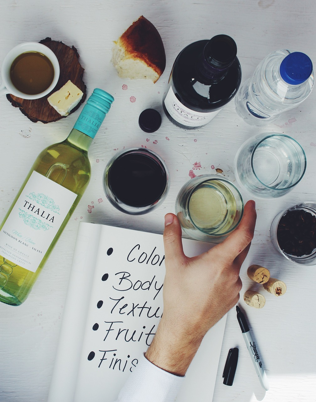 Wine tasting guide with notebook