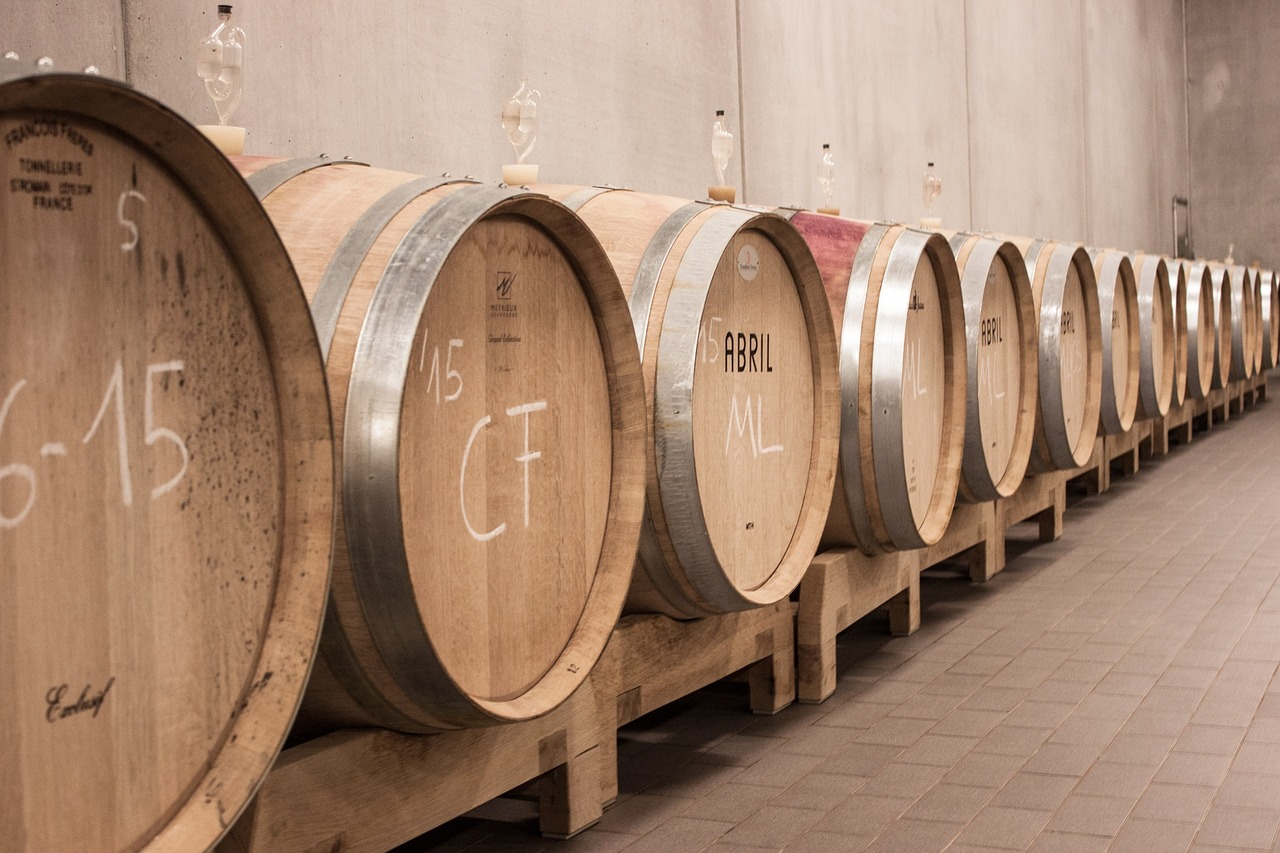 Italian wine barrels from the same vintage