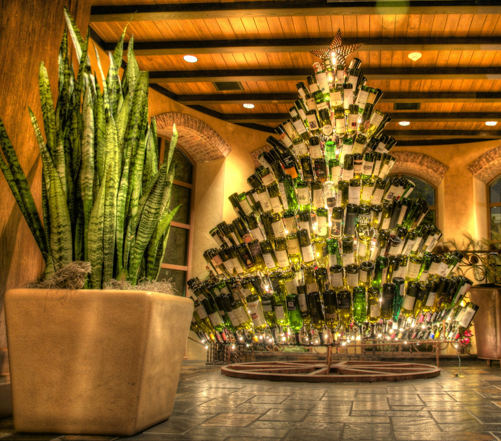 wine bottle Christmas tree near our luxury villas in Umbria
