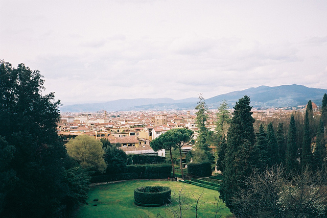 Landscape views over Florence from the Bardini gardens.