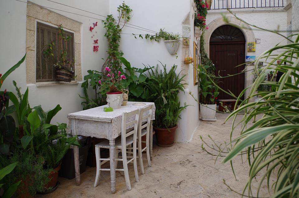 A table outside in Locorotondo in Puglia