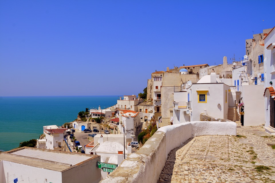 White houses on the coast of Peschici in Puglia