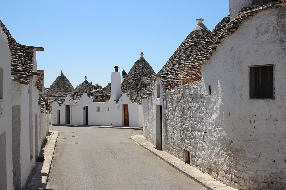 A street with trulli in Alberobello, Puglia