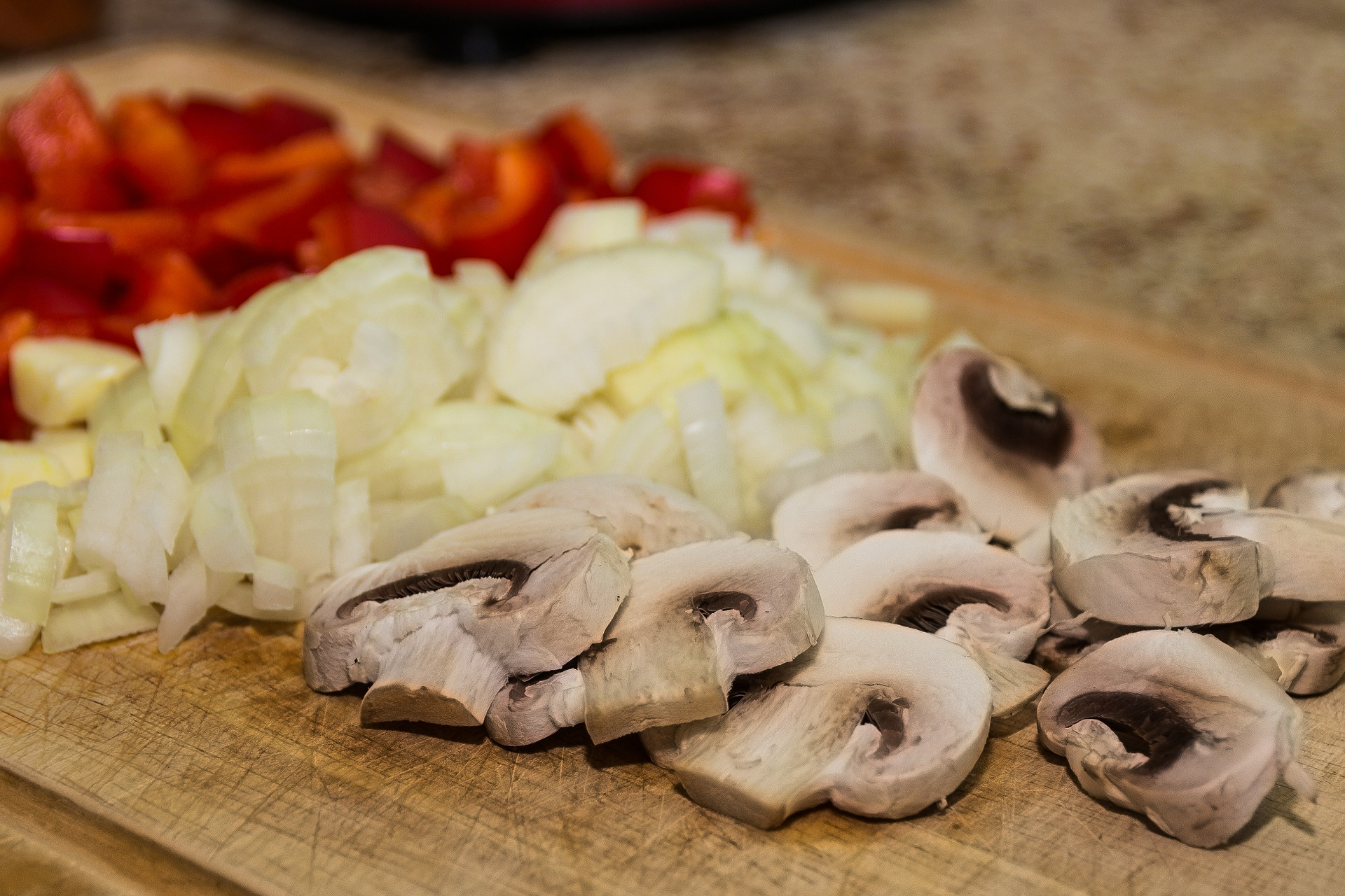 Chopped mushrooms, pepper and onions