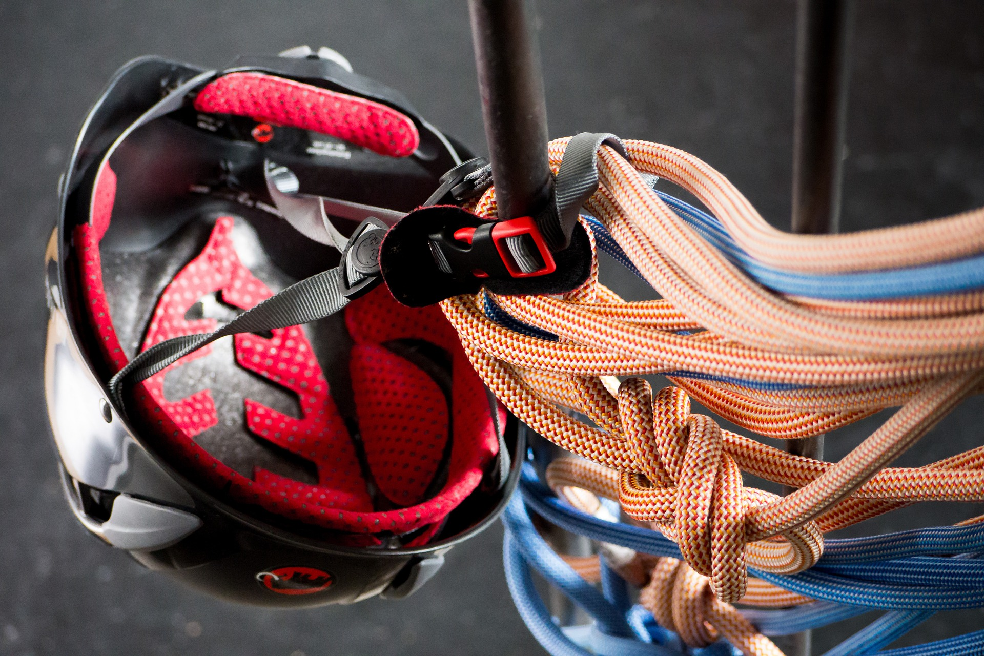 helmet and climbing ropes