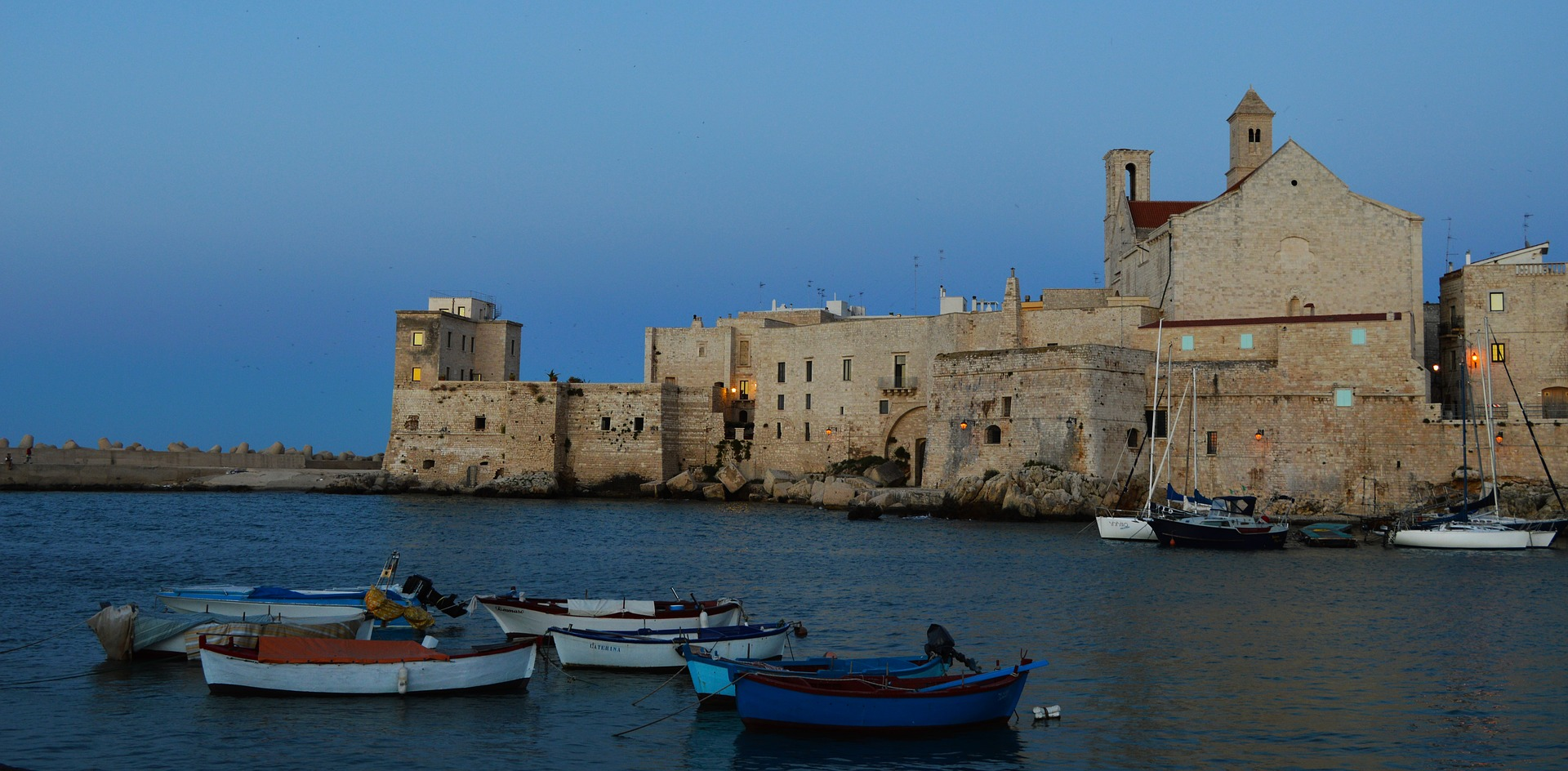 The city of Bari during the evening