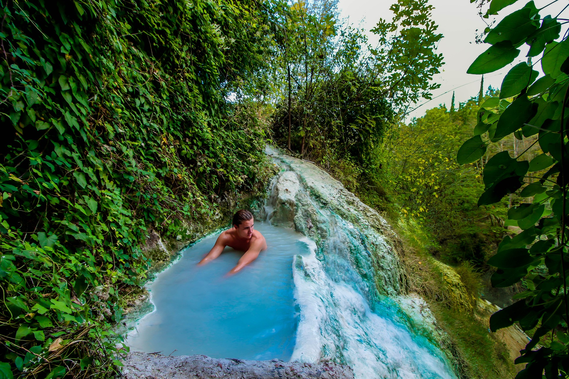 man in a thermal spa in tuscany
