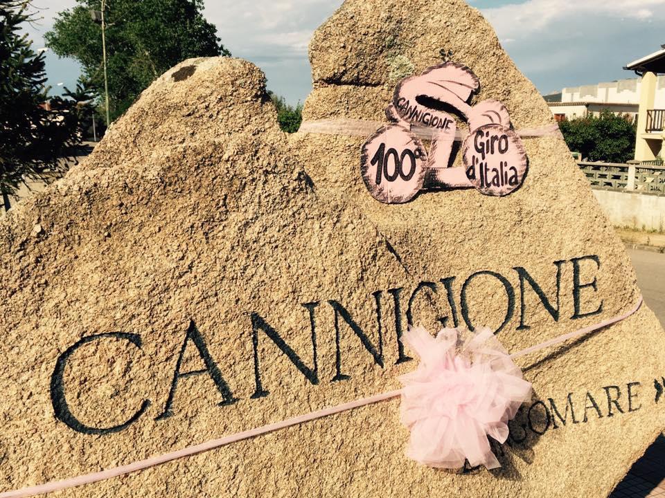 Village decorations in Cannigione for the Giro d'Italia 100