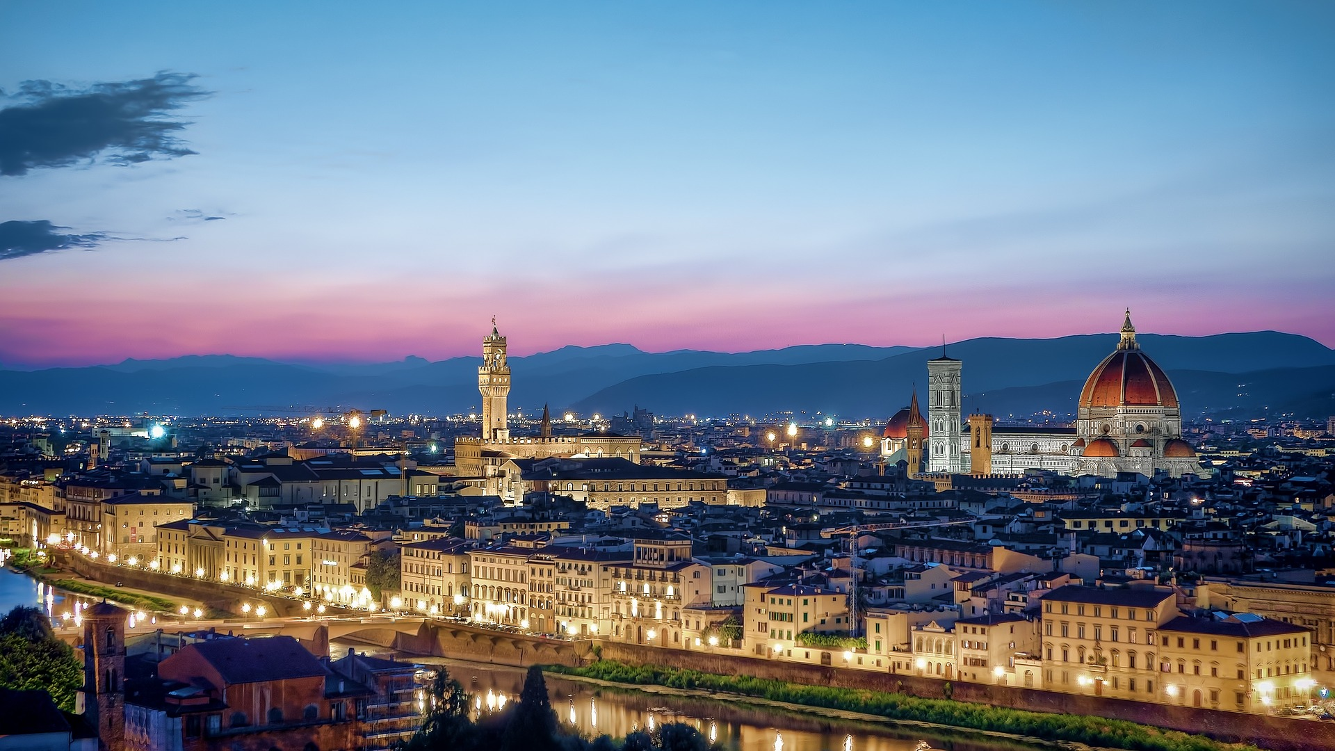 Florence at night with sunset