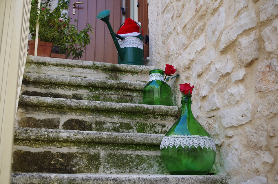 Christmas vases on stone steps