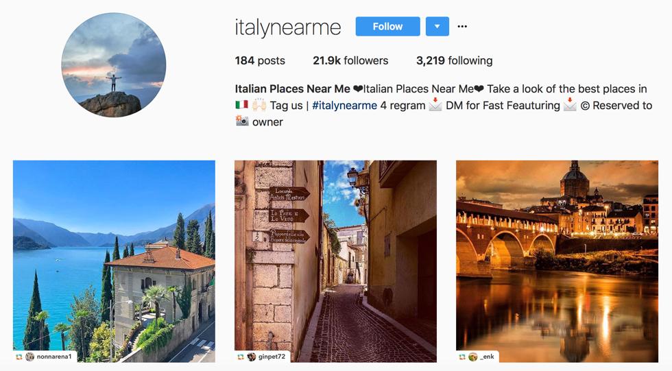 Italy near me instagram