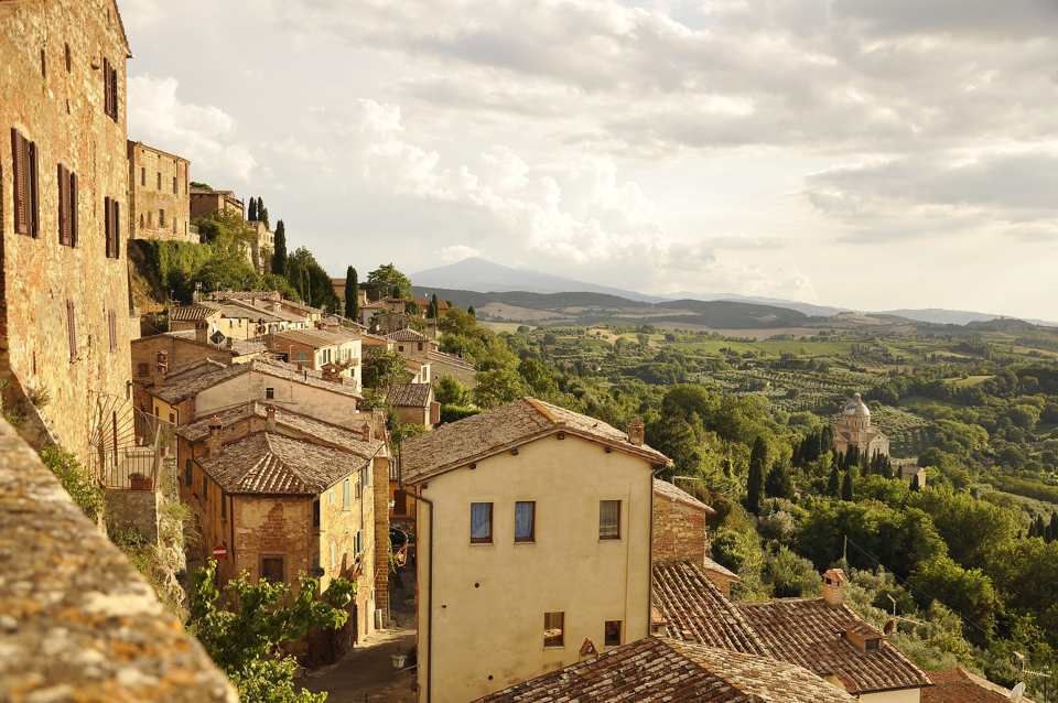 a hilltop town in Tuscany.