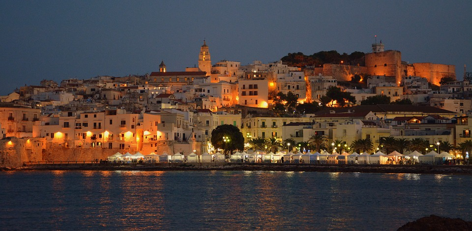 Vieste in Puglia lit up at night