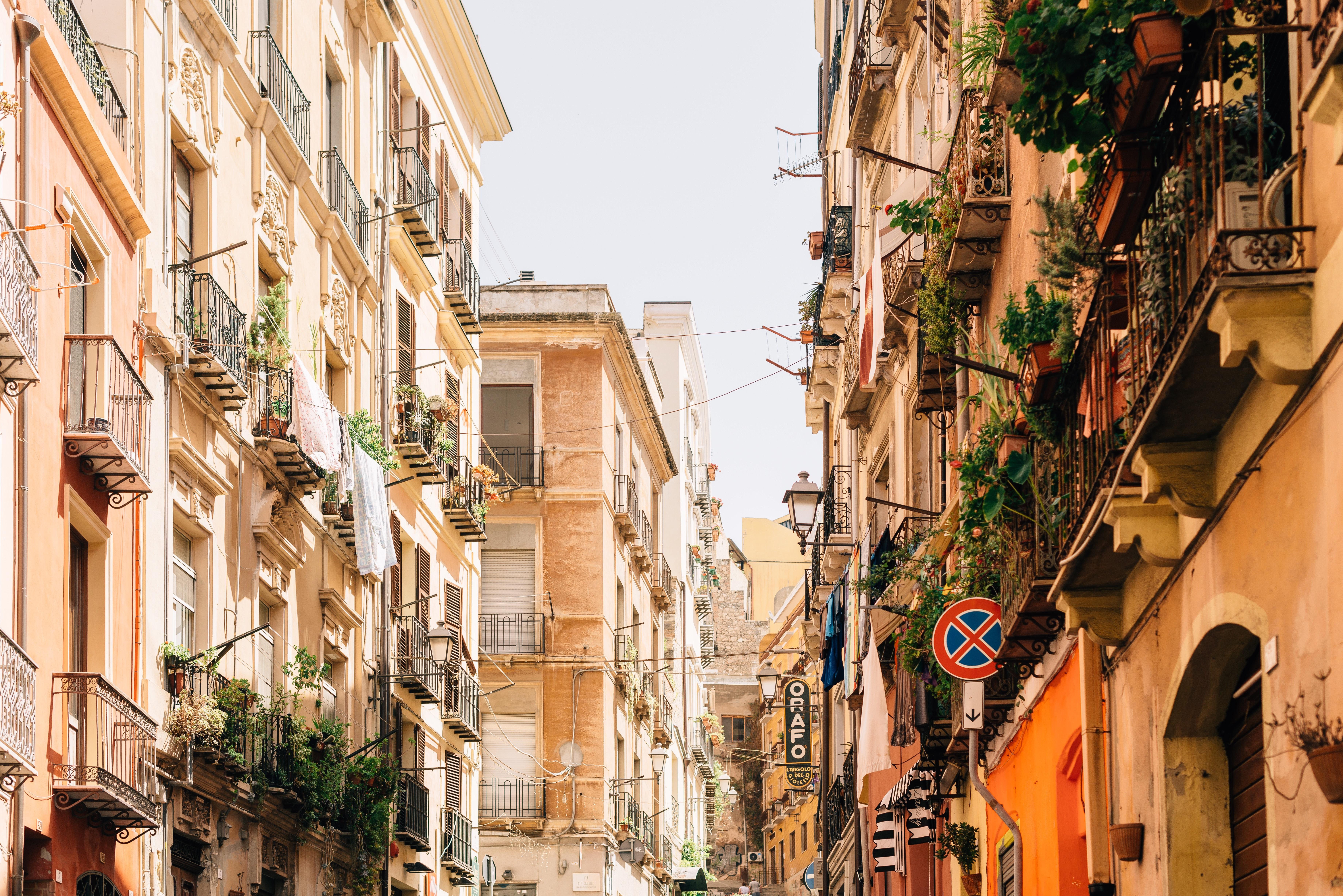 A busy street in Cagliari