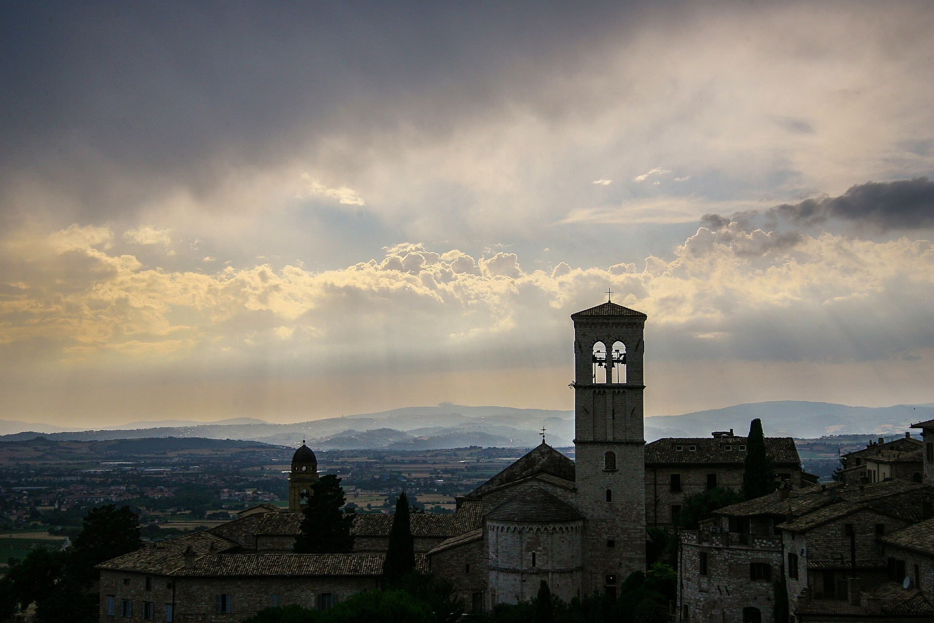 View of Assisi on a cloudy day