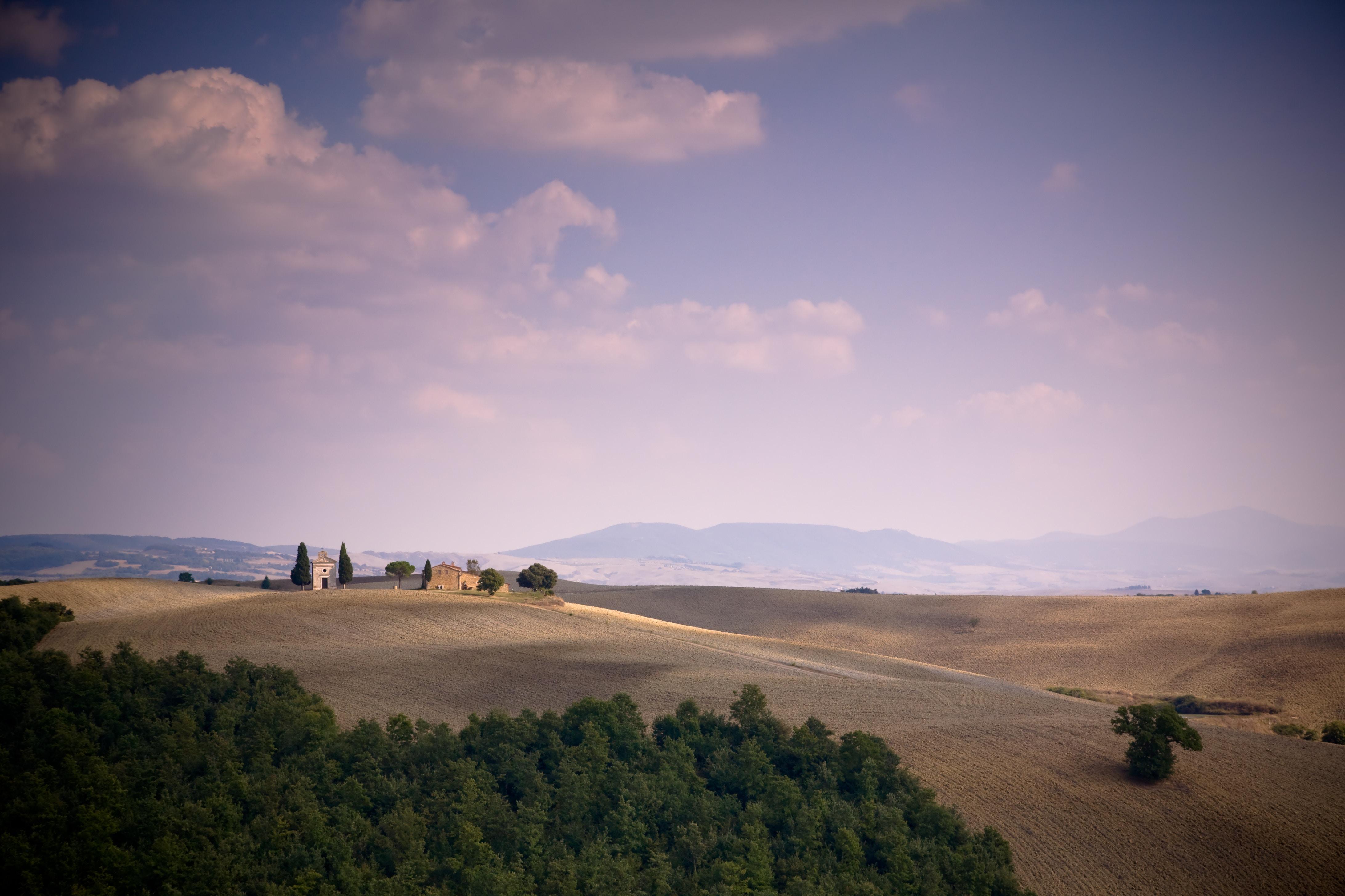 The sun setting over Tuscany