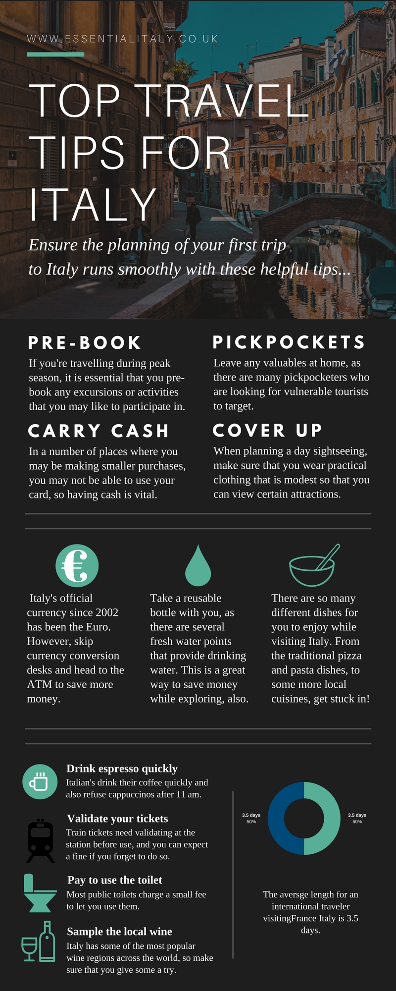 Best travel tips in Italy infographic