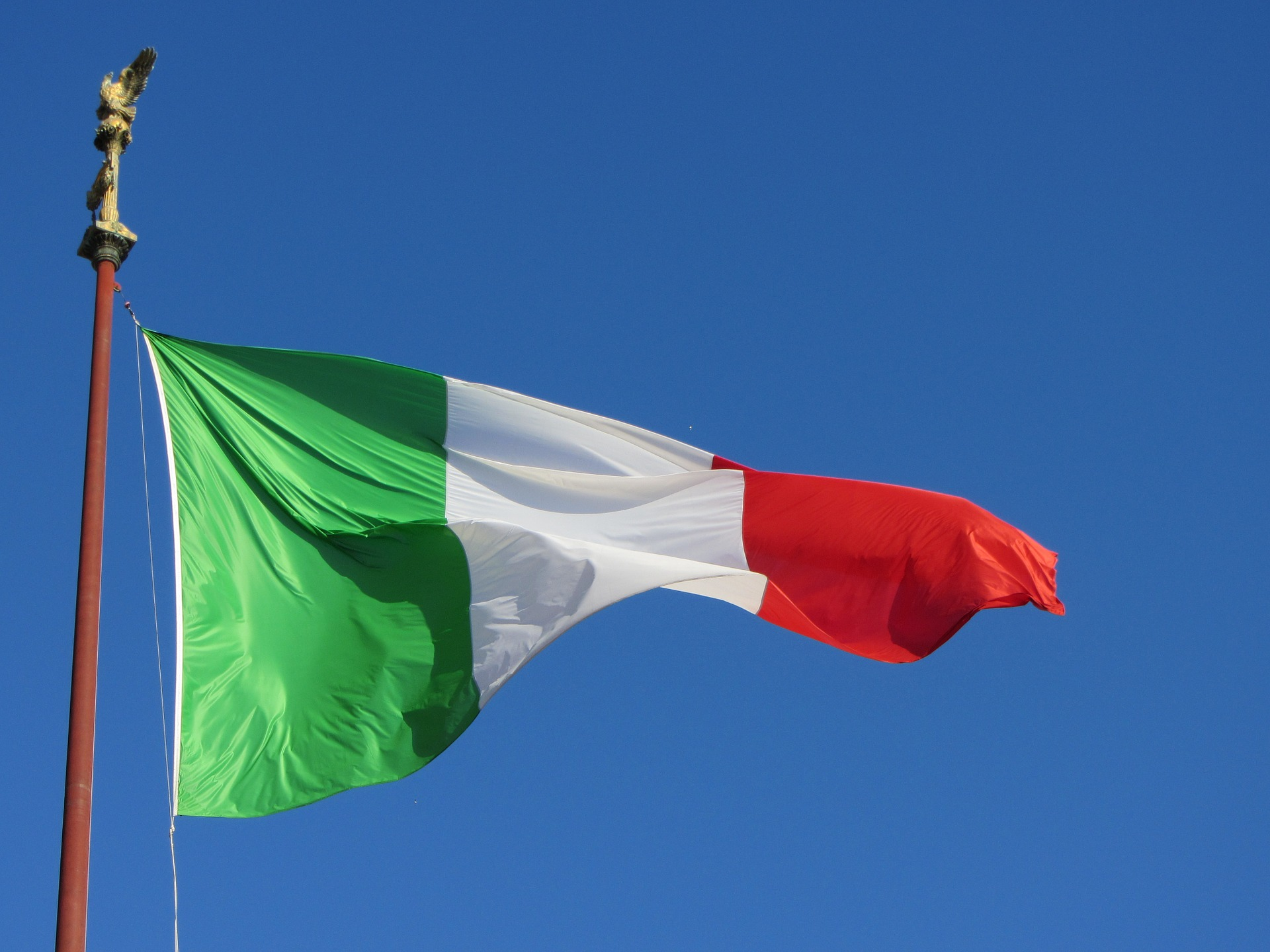 The Italian flag blowing in the wind