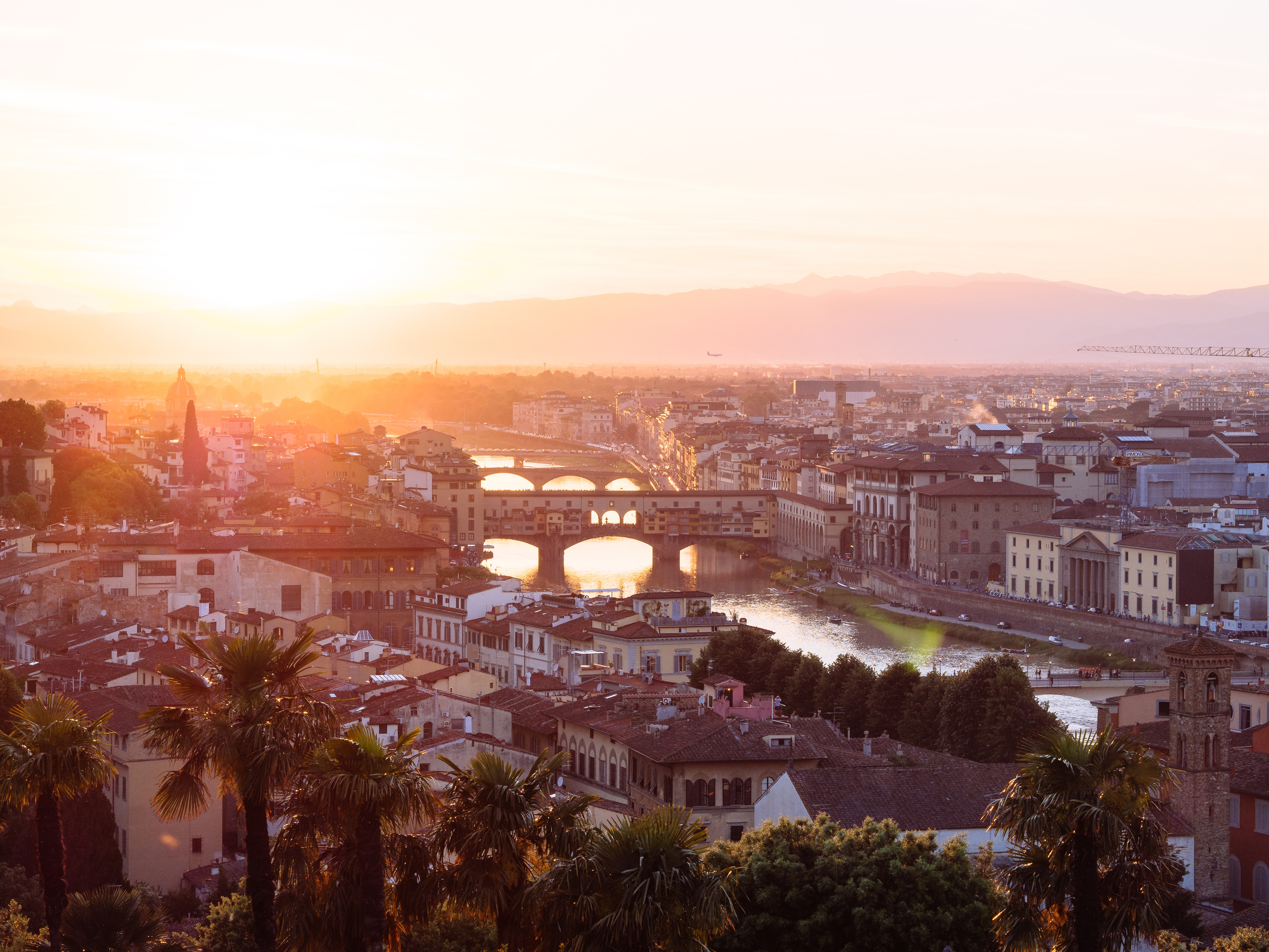Florence from the rooftops at sunset