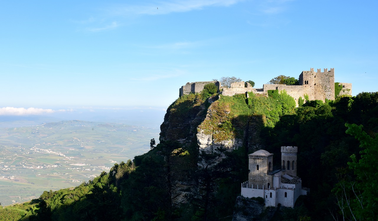 Castle Erice View Rock Fortress Sicily Italy