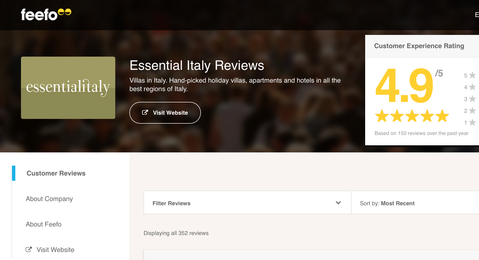 Feefo Reviews for Essential Italy