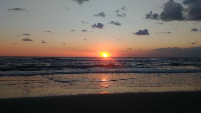 Sunset on Mediterranean sea in Abruzzo.