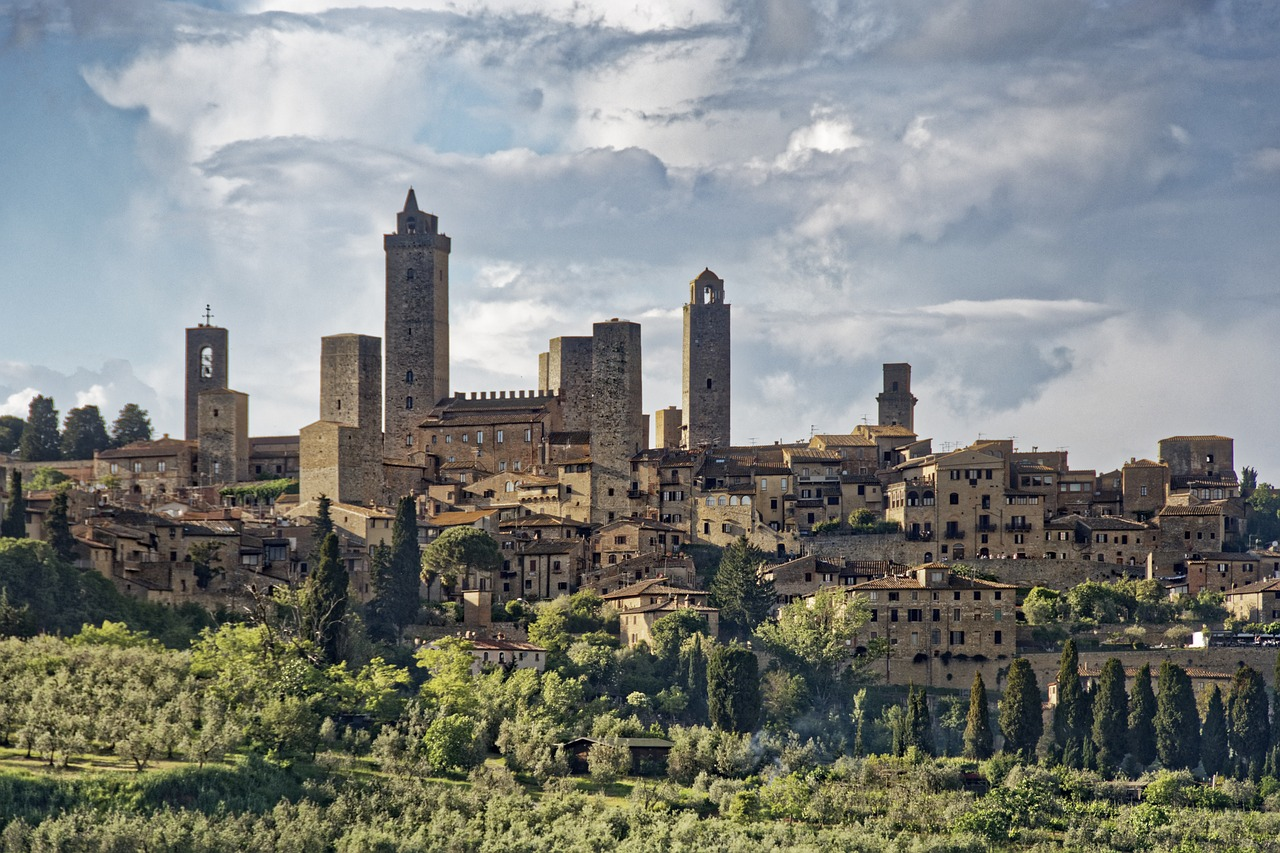 A panoramic view of the medieval town of San Gimignano