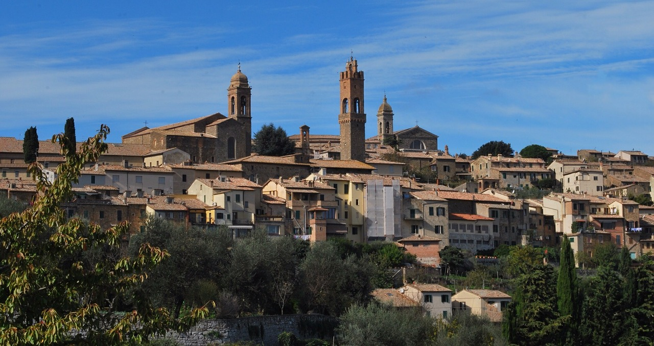 A panoramic view of the town of Montalcino