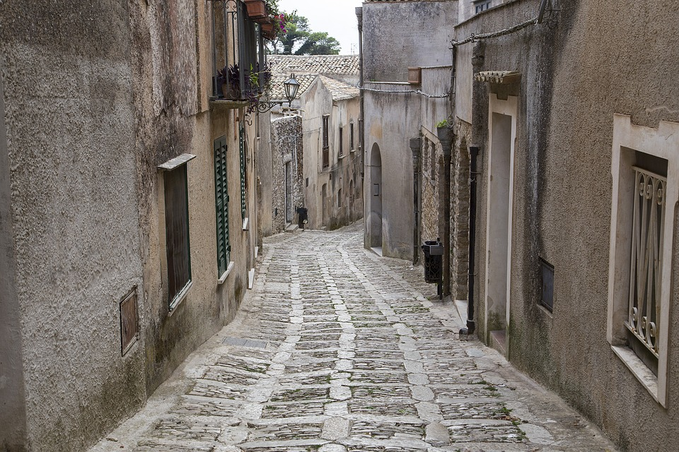 Winding streets in Erice