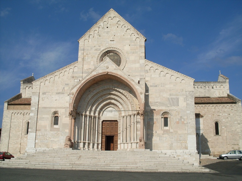A white stone church.