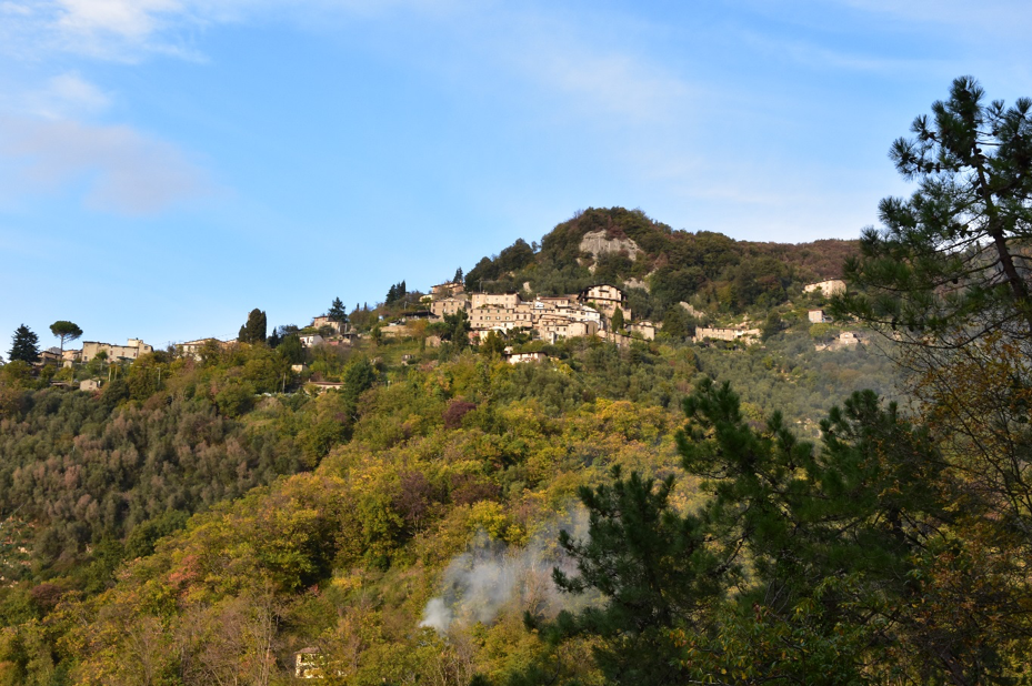 The village of Metato, Tuscany, from a distance