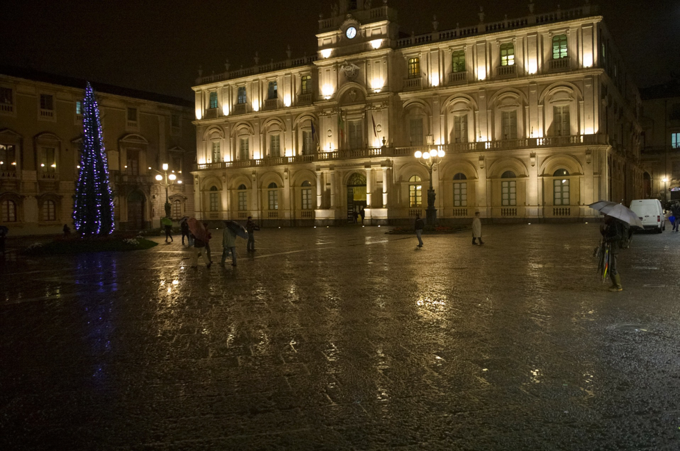 Christmas in Catania, Italy, at night