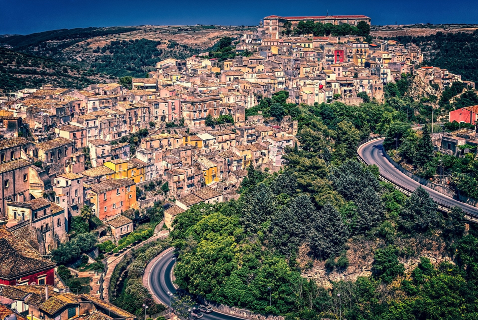 Sicilian Town with Roads and Trees and Houses